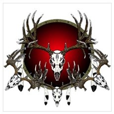 Deer skull with feathers Poster
