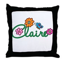 Claire Flowers Throw Pillow