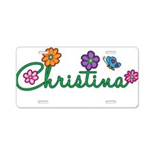 Christina Flowers Aluminum License Plate