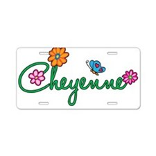 Cheyenne Flowers Aluminum License Plate