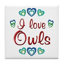 I Love Owls Tile Coaster