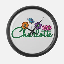 Charlotte Flowers Large Wall Clock