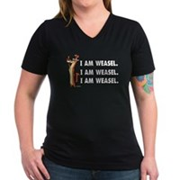 I Am Weasel Song Women's V-Neck Dark T-Shirt