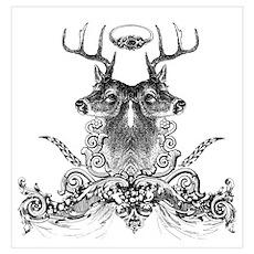 White-tailed Deer Combo Ornat Poster