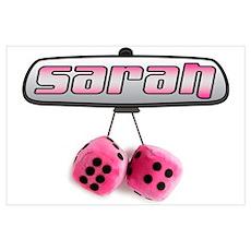 """""""Sarah Pink Fuzzy Dice"""" Poster"""