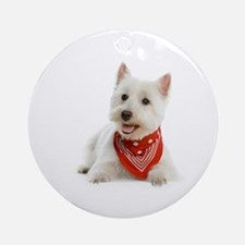 Westie With Red Bandana Ornament (Round)