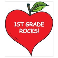Heart Apple 1st Grade Rocks Poster