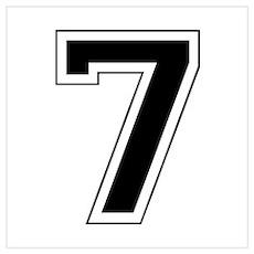 Varsity Font Number 7 Black Poster