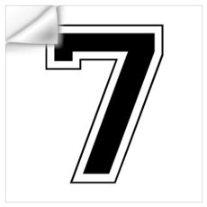 Varsity Font Number 7 Black Wall Decal