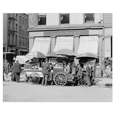 New York City Lunch Carts, 1906 Poster