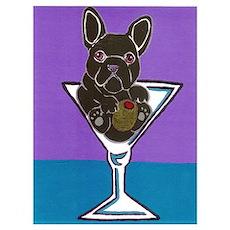 Black/Brindle French Bulldog Poster
