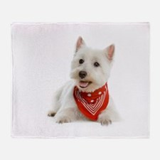 Westie With Red Bandana Throw Blanket