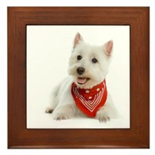 Westie With Red Bandana Framed Tile
