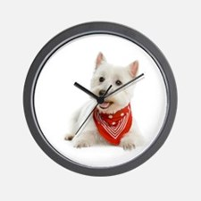 Westie With Red Bandana Wall Clock