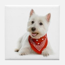 Westie With Red Bandana Tile Coaster