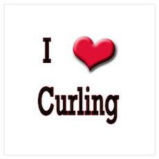 I Love (Heart) Curling Poster