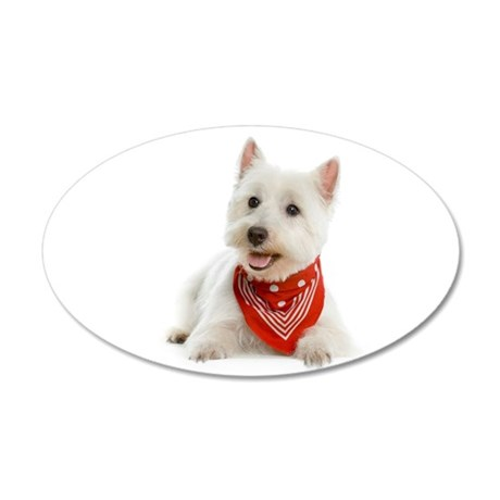 Westie With Red Bandana 38.5 x 24.5 Oval Wall Peel