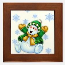 Happy Snowman Framed Tile