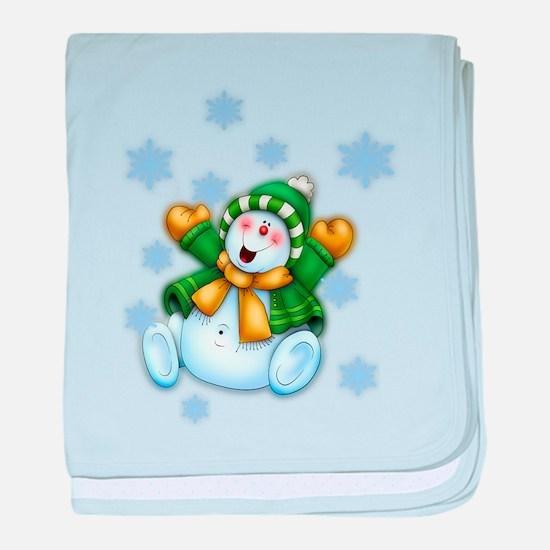 Happy Snowman baby blanket