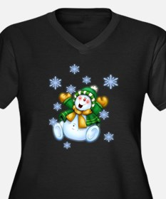 Happy Snowman Women's Plus Size V-Neck Dark T-Shir