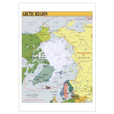 Arctic Polar Map Poster