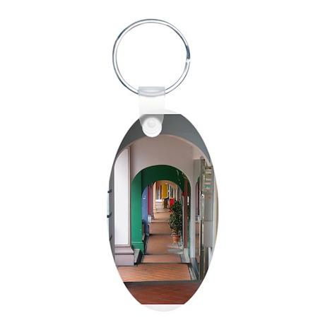Singapore Porticoes Aluminum Oval Keychain