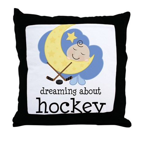 Dreaming About Hockey Throw Pillow
