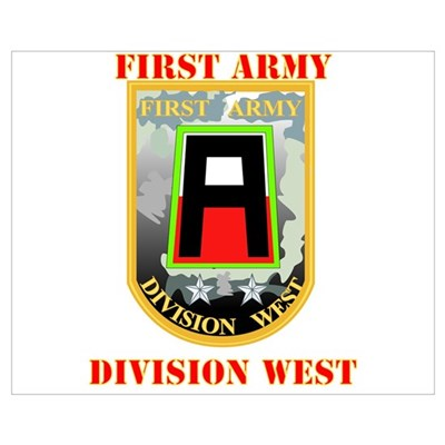 SSI - First Army Division West with Text Mini Post Framed Print