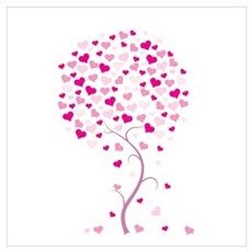 Pink Heart Tree Poster