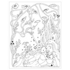Fairy with Ermine - Art Nouve Poster