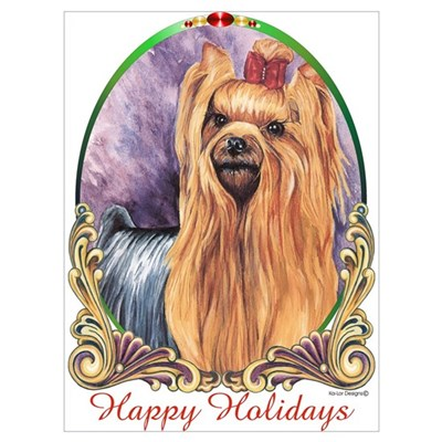 Yorkie Dog Happy Holiday Canvas Art