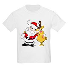 Santa and Rudolph Breast Cancer Awareness T-Shirt
