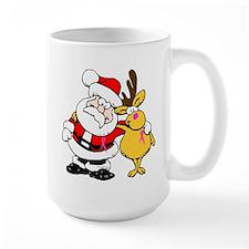 Santa and Rudolph Breast Cancer Awareness Mug