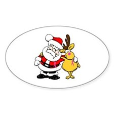 Santa and Rudolph Breast Cancer Awareness Decal