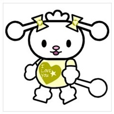 I Love You Poodle Yellow Poster