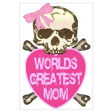 World's Greatest MOM Goth Skull Framed Print