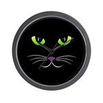 Spooky Cat Face Wall Clock