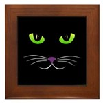 Spooky Cat Face Framed Tile