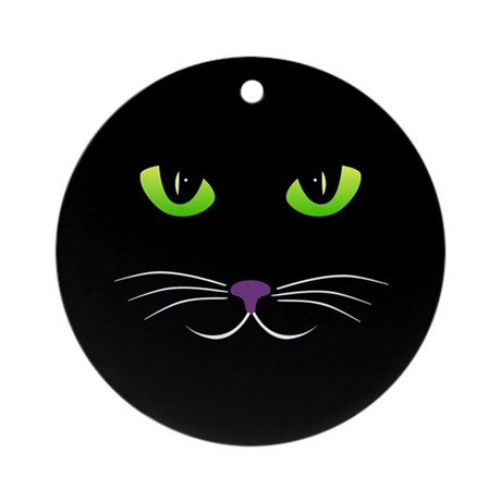 Spooky Cat Face Ornament (Round)