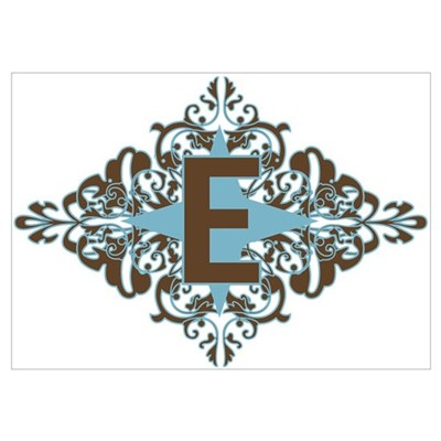 E Monogram Letter E Poster