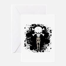 Pirate Skeleton and Black Splatter Greeting Card
