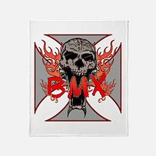 BMX skull 5 Throw Blanket