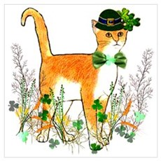 St. Patrick's Day Cat Canvas Art