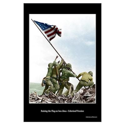 Raising the Flag on Iwo Jima - Colorized (17x11) Poster