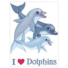 Dolphin Family and Text Poster