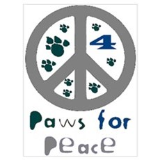 Paws for Peace Grey Poster