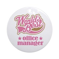 Office Manager (Worlds Best) Gift Ornament (Round)