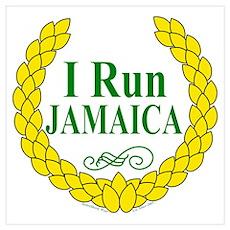 I Run Jamaica Green & Yellow Poster