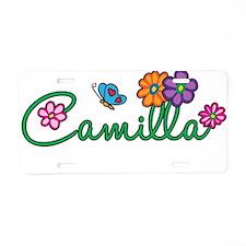 Camilla Flowers Aluminum License Plate