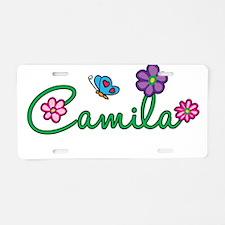 Camila Flowers Aluminum License Plate